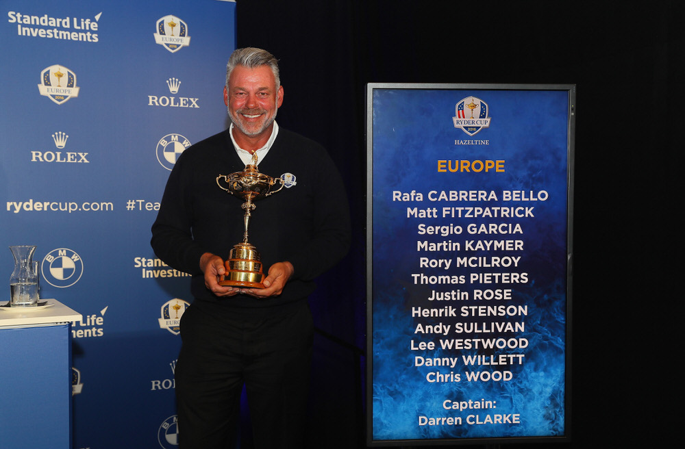 Darren Clarke with the names of the  12 European players and the Ryder Cup he wants to retain