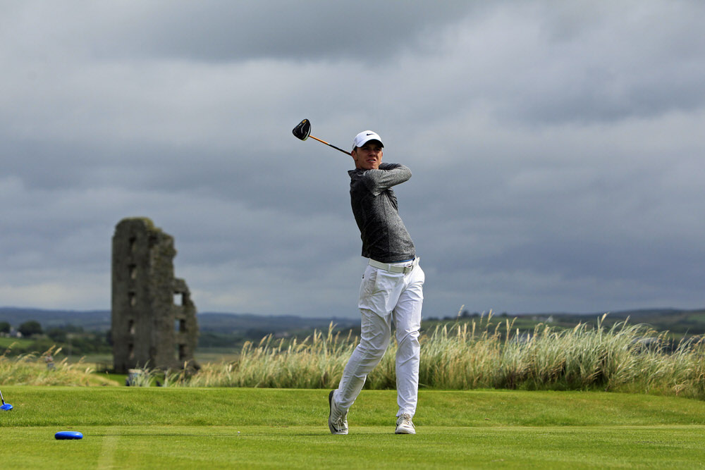 Rowan Lester (Hermitage) on the 13th tee during the semi-finals of the 2016 South of Ireland Amateur Open Championship at Lahinch. Picture:  Golffile | Thos Caffrey