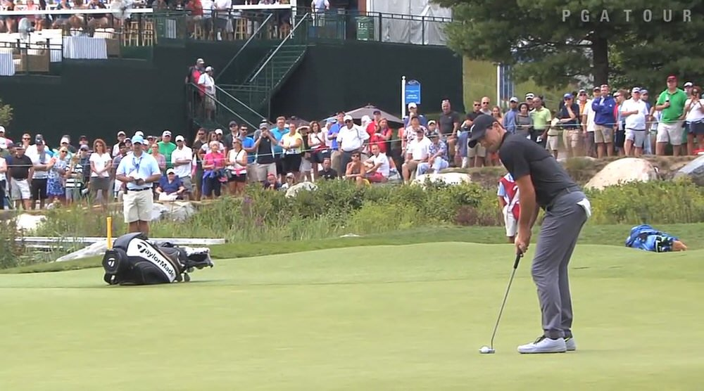 Rory McIlroy two putts for birdie on the 18th at TPC Boston