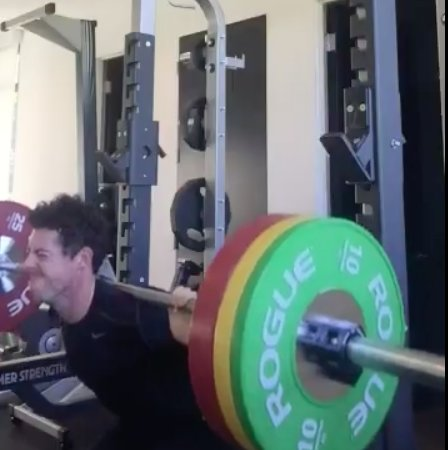 Rory McIlroy exercising in the gym
