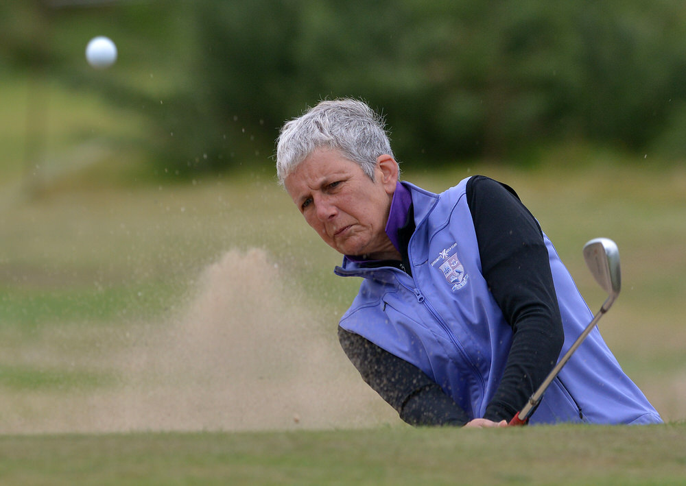 Pat Doran (Donabate) bunkered at the 2nd green in the final round of the 2015 Irish Senior Women's Open Strokeplay at Rosslare Golf Club today (11/09/2015). Picture by Pat Cashman