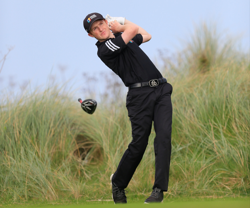 Ronan Mullarney (MU) during the 2015 Irish Intervarsity Championship at Rosslare. Picture:  Thos Caffrey / www.golffile.ie