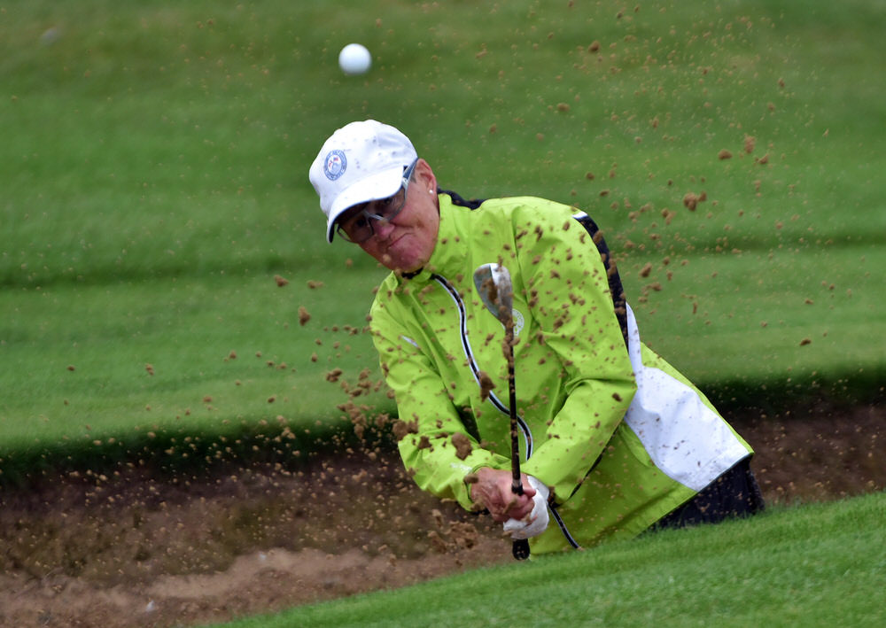 Alison Murdoch (Canada) holing her bunker shot at the 14th green in the final round of the 2016 Irish Senior Women's Open Strokeplay at Arklow Golf Club. Picture by  Pat Cashman