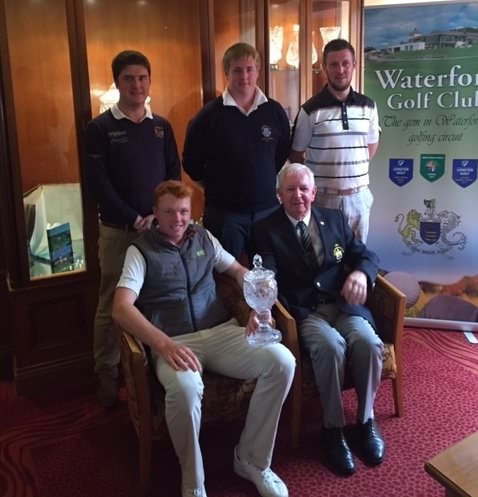 Top, Kevin Stack, Michael Ryan and Paul O'Hara. Seated: Robin Dawson seated with Waterford GC captain, Gerry O'Keeffe.