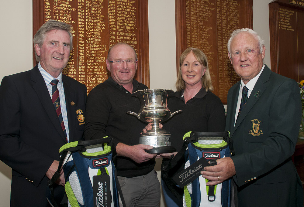 East of Ireland Mixed Foursomes Championship at Skerries Golf Club. WinnersFergus Harrold and Shirley Real with Jerome Clancy of Leinster Golf and Peter Hounihan, Captain of Skerries. Photo: Ronan Quinlan