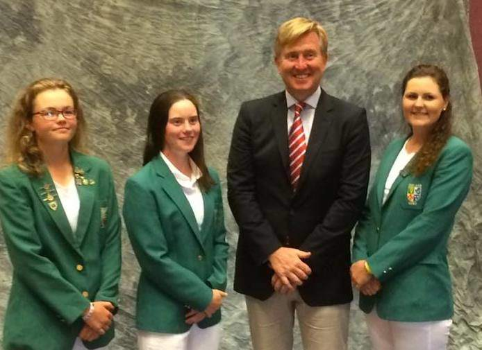 (L-R) Annabel Wilson, Leona Maguire, coach David Kearney and Olivia Mehaffey in Mexico