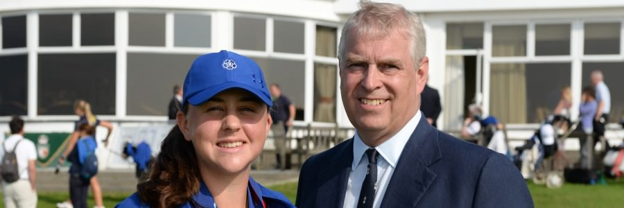Canada's Chloe Curri with the Duke of York, Prince Andrew