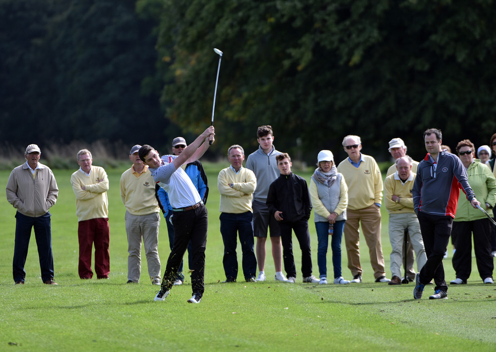 TJ Ford (Co Sligo) playing his second shot to the 18th green in the semi final of the AIG Senior Cup at Carton House today (16/09/2016). Picture by Pat Cashman