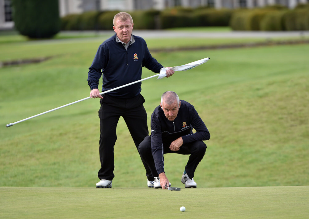 Alan Hawthorne (Fortwilliam) putting on the 18th green in the semi final of the AIG Jimmy Bruen Shield at Carton House today (16/09/2016). Picture by Pat Cashman