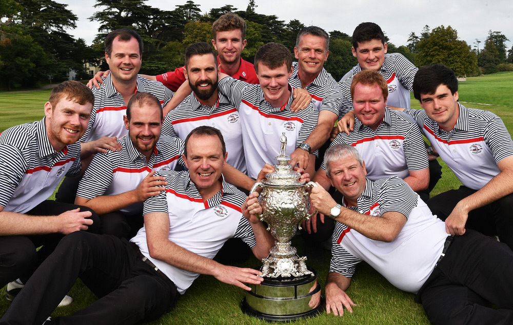 Shane Flanagan (Team Captain) and Robbie Fitzpatrick (Assistant Team Captain) with the Co Sligo team members (from left) Ruairi O'Connor, Declan Reidy, Garth McManus, Mark Morrissey, Sean Flanagan, TJ Ford, David Brady, Shane Underwood, Alan Gaynor and Cian Feeney after their victory in the AIG Senior Cup at Carton House. Picture by Pat Cashman