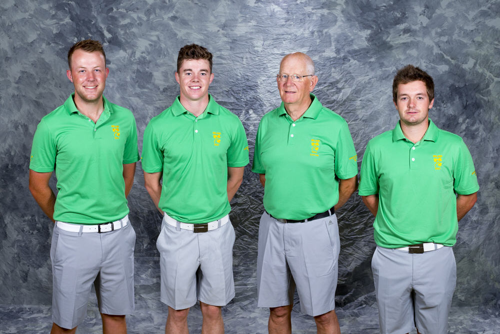 Ireland World Amateur Team, from left to right, Paul McBride, Stuart Grehan, captain Tony Goode, and Jack Hume as seen during the practice round at the 2016 Eisenhower Trophy at Iberostar Resort in Riviera Maya, Mexico on Tuesday, Sept. 20, 2016.  (Copyright USGA/Steve Gibbons)
