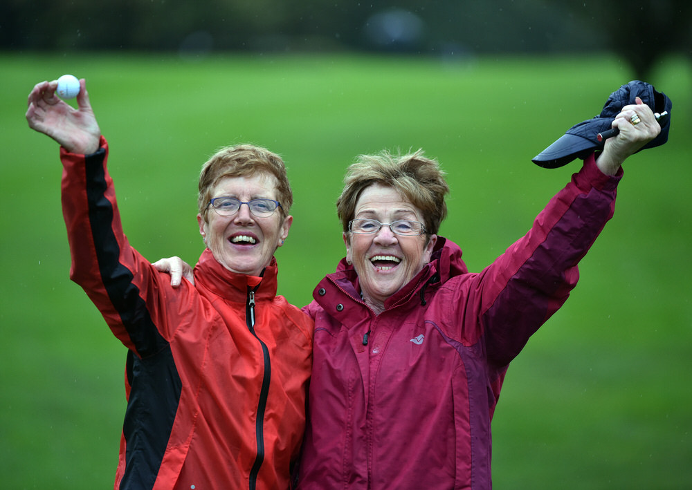 Susan Reilly and her caddy Kathleen Curtis (Headfort) celebrate their victory in the AIG Challenge Cup Final at Dundalk Golf Club. Picture by  Pat Cashman