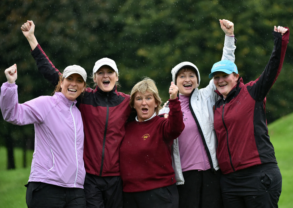 Castletroy Golf Club Junior Cup team (from left) Eimear Costello, Leonie Campbell, Ethna Leonard, Fiona Corbett and Sarah Vaughan celebrate their victory in the AIG Junior Cup at Dundalk. Picture by  Pat Cashman