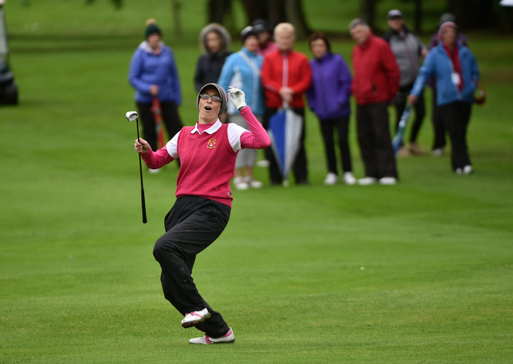 Mary Cantwell (Tramore) pitching to the 15th green in the AIG Junior Foursomes Final, Picture by  Pat Cashman