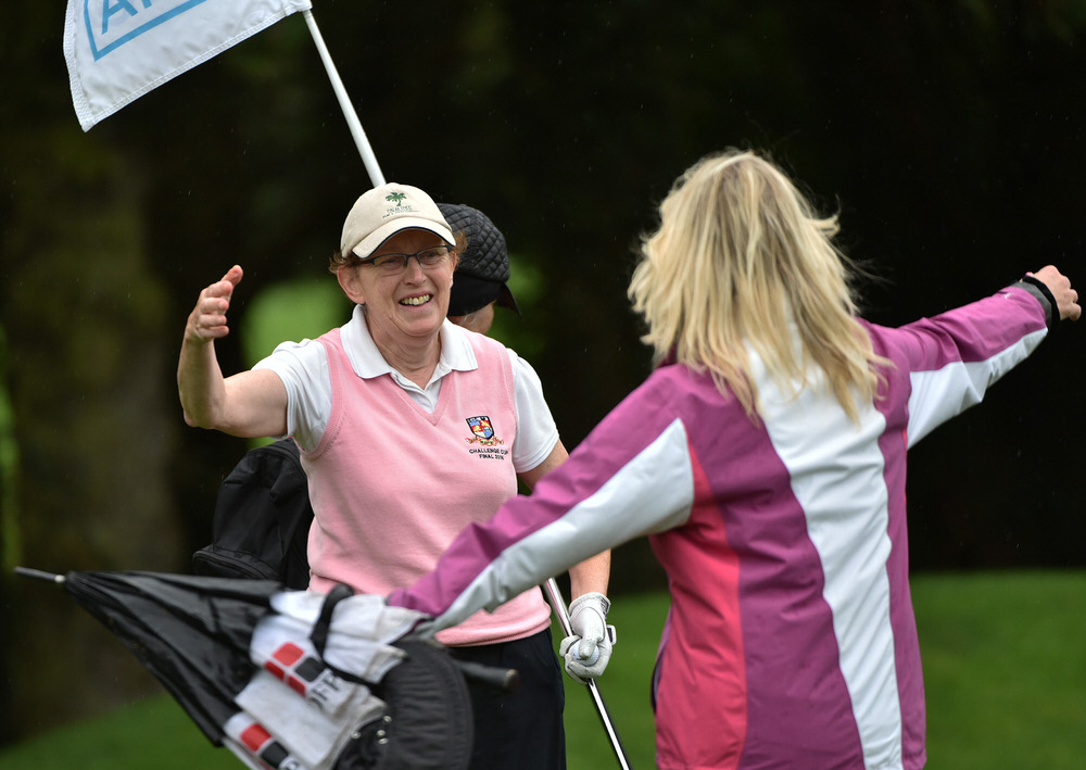 Mary Bowler (Headfort) holes the winning putt on the 16th green for victory in the AIG Challenge Cup Final. Picture by  Pat Cashman