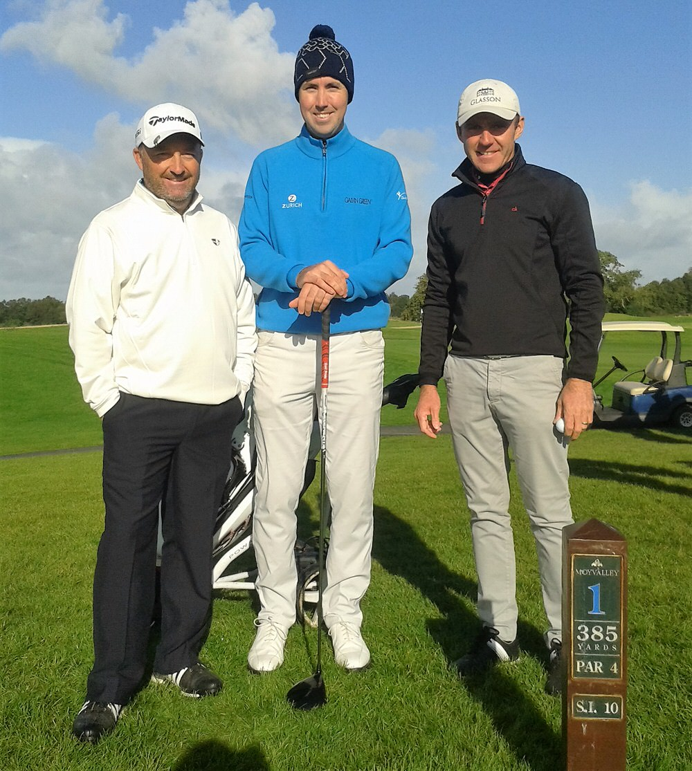 Damien McGrane with Niall Kearney and Colm Moriarty at Moyvalley
