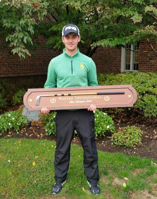 Conor O'Rourke with his Nassau Invitational trophy - a replica of Bobby Jones' Calamity Jane putter