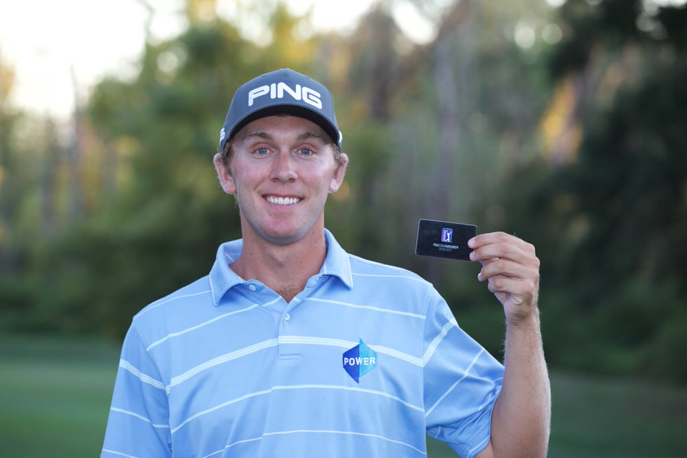 Seamus Power with his PGA Tour card. He's been drawn with Cody Gribble and Trey Mullinax in Napa this week.