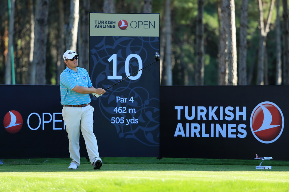 ANTALYA, TURKEY - NOVEMBER 03:  George Coetzee of South Africa tees off on the 10th hole during day one of the Turkish Airlines Open at the Regnum Carya Golf & Spa Resort on November 3, 2016 in Antalya, Turkey.  (Photo by Richard Heathcote/Getty Images)