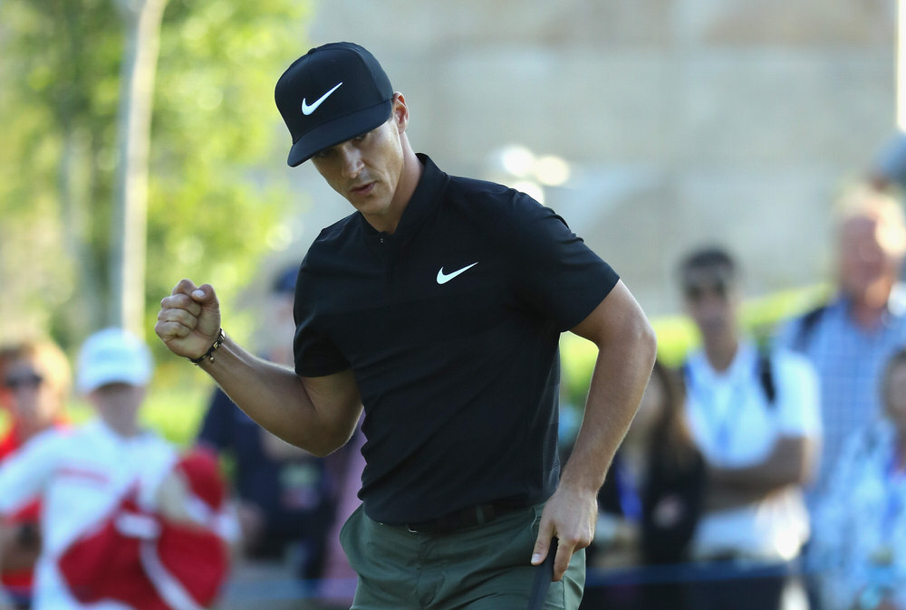 ANTALYA, TURKEY - NOVEMBER 04: Thorbjorn Olesen of Denmark celebrates a birdie after an amazing 'up & down' second shot from behind a tree on the 17th hole during the second round of the Turkish Airlines Open at the Regnum Carya Golf & Spa Resort on November 4, 2016 in Antalya, Turkey. (Photo by Warren Little/Getty Images)