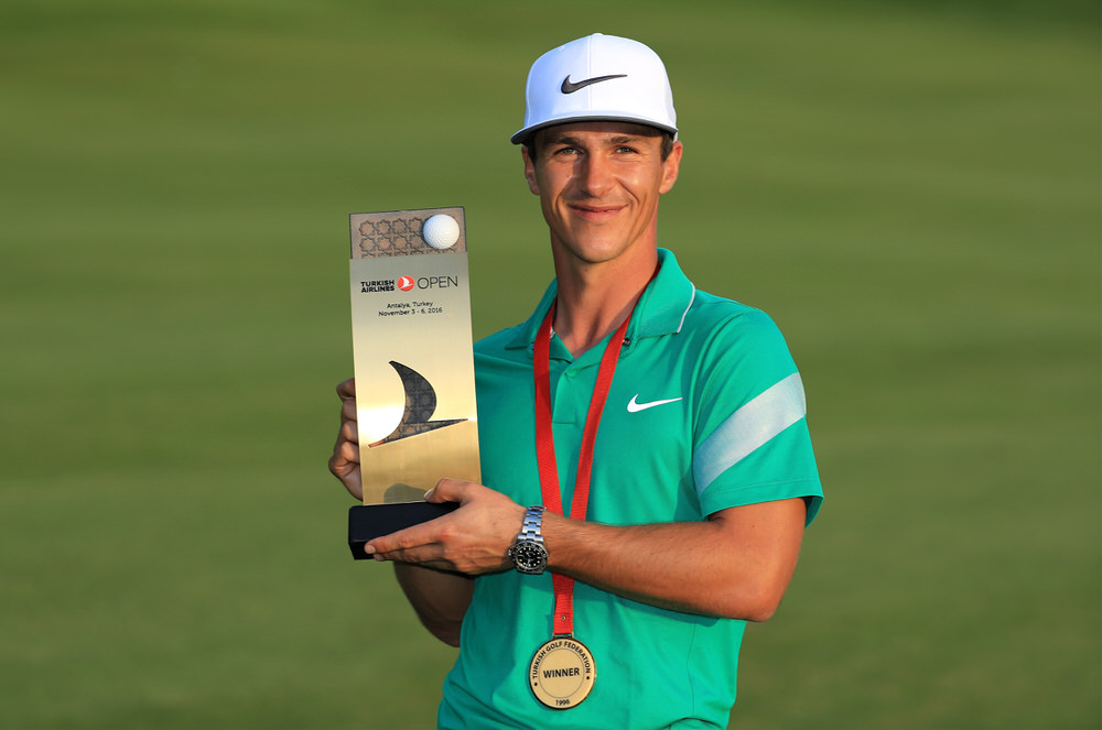 ANTALYA, TURKEY - NOVEMBER 06:  Thorbjorn Olesen of Denmark poses with the trophy following his victory during day four of the Turkish Airlines Open at the Regnum Carya Golf & Spa Resort on November 6, 2016 in Antalya, Turkey.  (Photo by Richard Heathcote/Getty Images)