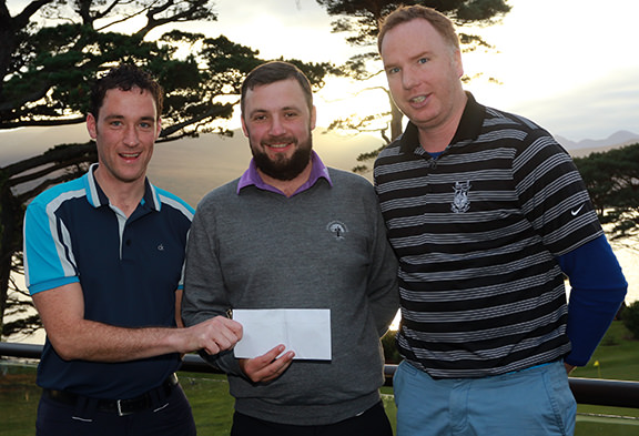 Munster PGA Captain Stephen Hayes presents Davey Barry with first prize at the Titliest Munster PGA event at Killarney, Also pictured, Cormac Flannery from Killarney Golf & Fishing Club. Picture: Niall O'Shea