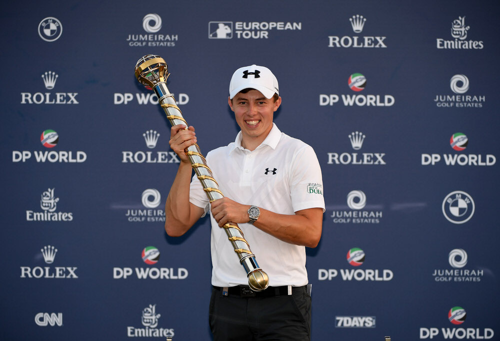 DUBAI, UNITED ARAB EMIRATES - NOVEMBER 20:  Matthew Fitzpatrick of England with the DP World Tour Championship Trophy after the final round of the DP World Tour Championship at Jumeirah Golf Estates on November 20, 2016 in Dubai, United Arab Emirates.  (Photo by Ross Kinnaird/Getty Images)