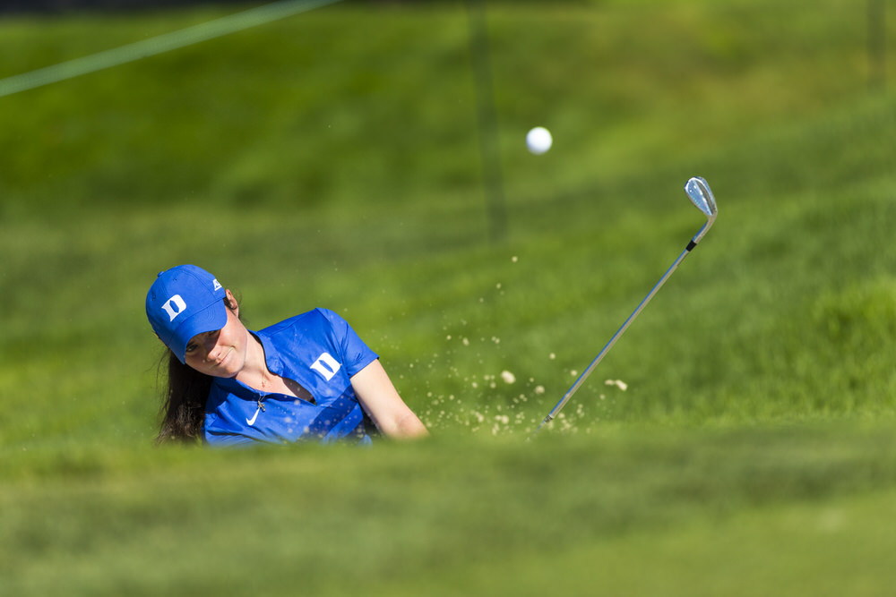 Leona Maguire plays out of a bunker on the fourth hole during a practice round ahead of the 2016 U.S. Women's Open at CordeValle  in San Martin, Calif. on Wednesday, July 6, 2016. (Copyright USGA/Steven Gibbons)