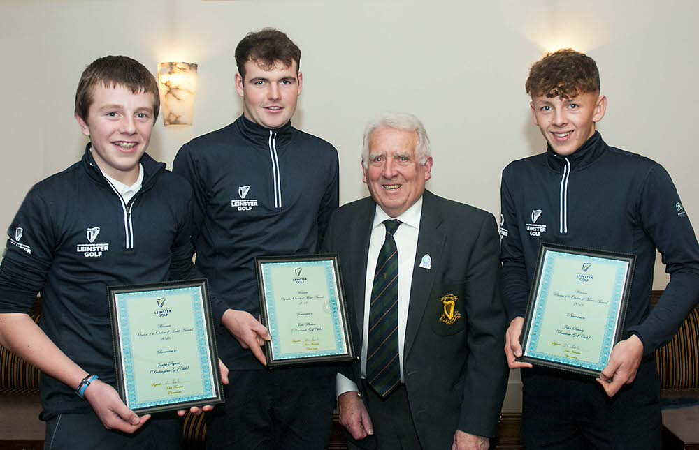 Leinster Golf Order of Merit winners, Joseph Byrne (Baltinglass Golf Club) Under 14 award, Jake Whelan (Newlands Golf Club) winner of the Youths award and John Brady (Rosslare Golf Club) winner of the Under 16 Order of Merit Award with John Ferriter, Chairman of Leinster Golf at the Annual delegate Meeting in Westmanstown Golf Club. Photo: Ronan Quinlan