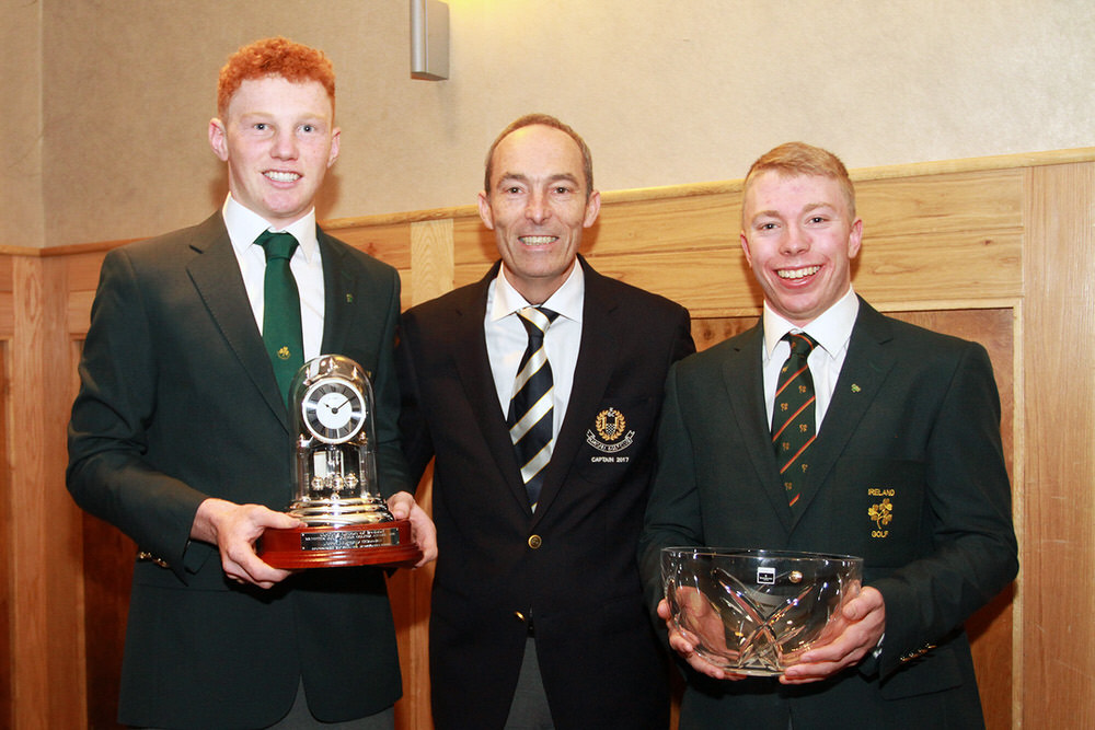 John Murphy (Junior Golfer of the Year) and Cathal Butler (Senior Golfer of the Year) pictured with Kinsale Captain Chris Cronin at the Munster Golf Awards. Picture: Niall O'Shea