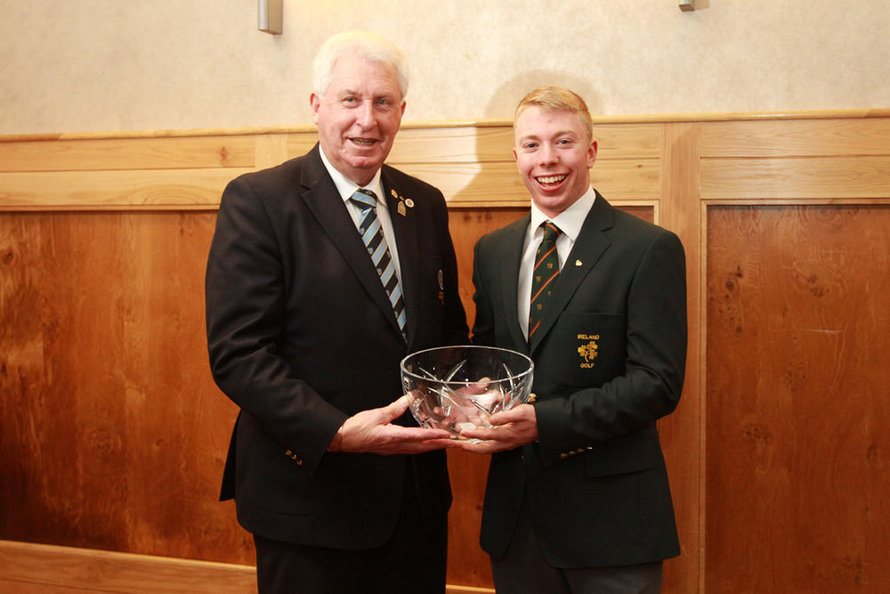 Munster Golf Chairman John Moloughney presents the Munster Senior Golfer of the Year Award to Cathal Butler (Kinsale). Picture: Niall O'Shea