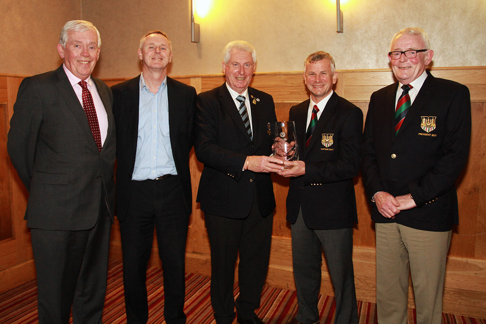 John Moloughney, Chairman Munster Golf presents Cork Golf Club Captain Rob Reardon with the Munster Club of the Year Award. Also included atre Matt Sands, Jerome O'Donovan and Pat Tuttle, President.Picture: Niall O'Shea