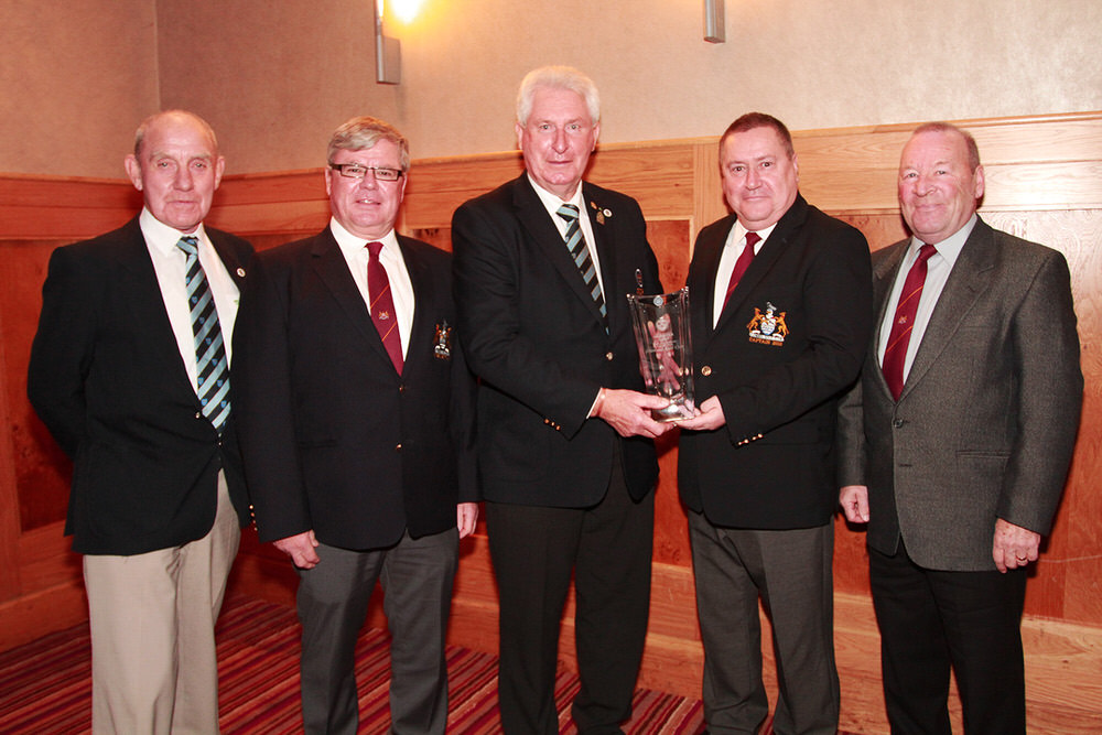 John Moloughney, Chairman Munster Branch presents Clonmel Captain Peter Hayes with the Munster Club Recognition Award, also included are John Fennessy, Alex Casey and Liam Mansell. Picture: Niall O'Shea