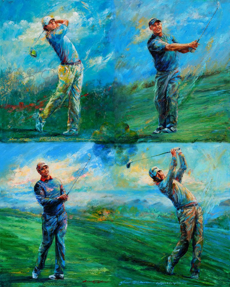 You can buy one of 400 limited edition prints of major winners Pádraig Harrington, Rory McIlroy, Graeme McDowell and Darren Clarke for €300. See details below.