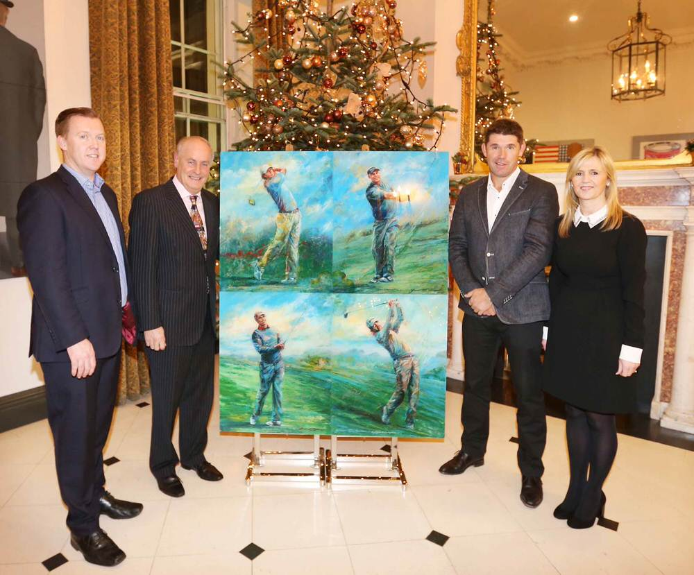 Tim O'Dea, Maurice Pratt and Dee Aherne from Barretstown with Padraig Harrington at the launch of the Champios4 project at the Merrion Hotel