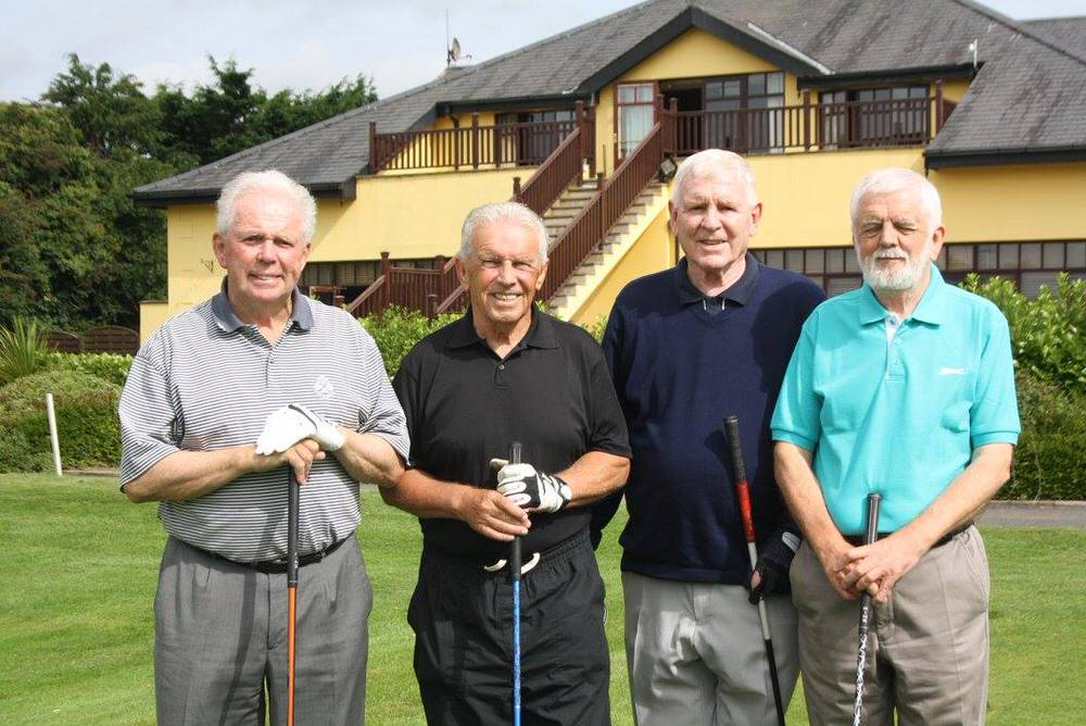 Pictured during September's charity day in aid of the John Giles Foundation at Hollystown Golf Club,(left to right) Liam Giles, John Giles, Jimmy Shiels (life time friend) and Chris Giles.