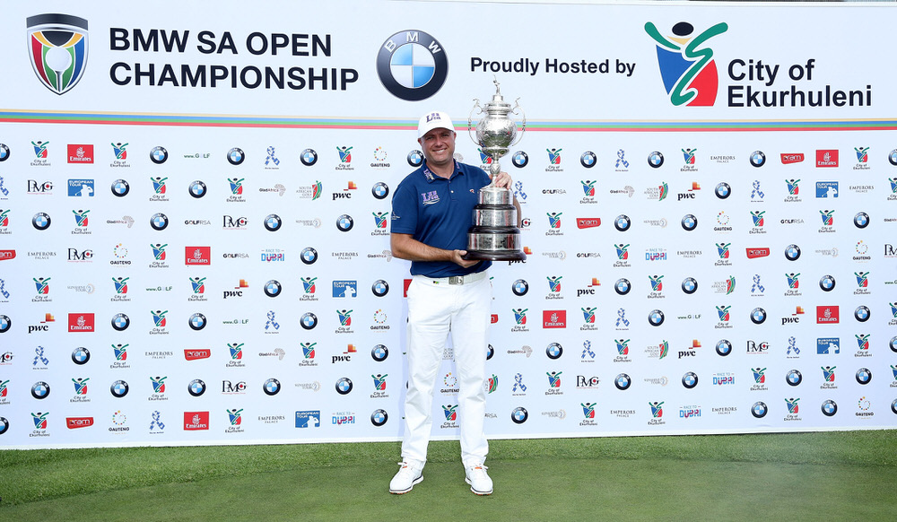 JOHANNESBURG, SOUTH AFRICA - JANUARY 15:  Graeme Storm of England poses with the trophy after his play-off win in the final round of the 2017 BMW South African Open Championship at Glendower Golf Club on January 15, 2017 in Johannesburg, South Africa.  (Photo by David Cannon/Getty Images)
