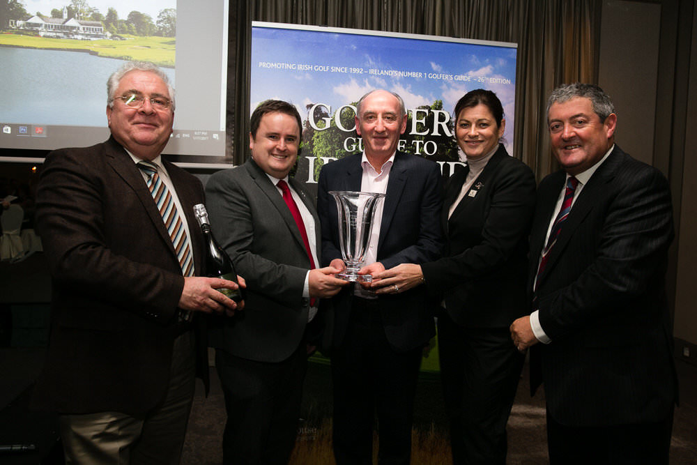 Pictured at the Golfers Guide to Ireland 2017 Awards was Bernard Durkin, TD, Brian Murphy, The K Club, Ger Humphreys, Tipperary Crystal, Sharon Smurfit, The K Club which won the Best Parkland Awards, Overall Parkland and Paddy McCarthy, Portside Media. Picture: Orla Murray