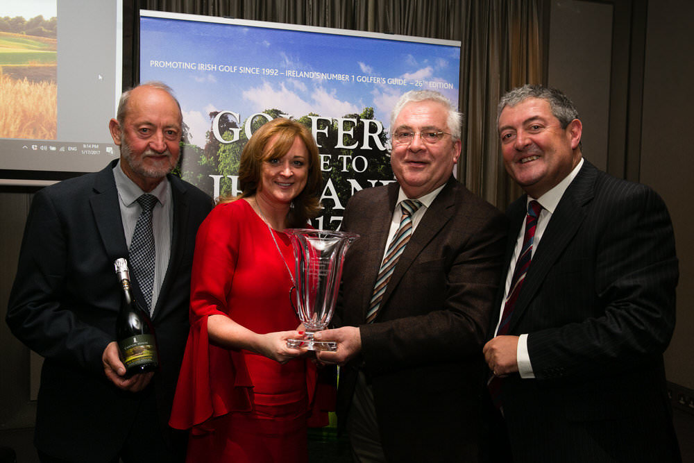 Brody Gordon with Monica O'Byrne, representing Carton House, which won Best Golf Resort Award, Leinster. Also pictured. Bernard Durkin, TD  and Paddy McCarthy, Portside Media. Picture: Orla Murray