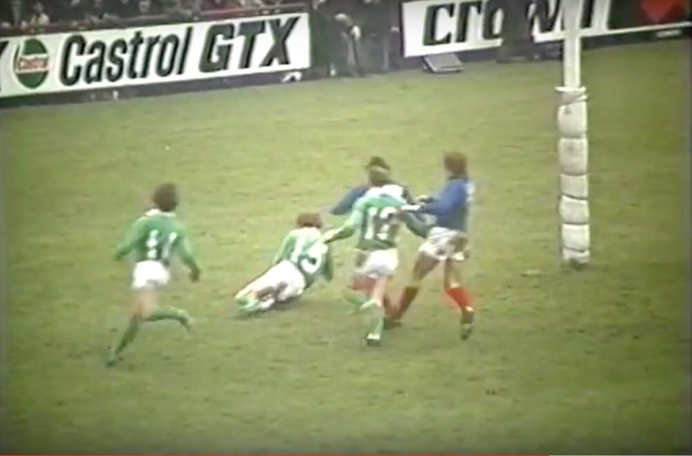 Tony Ensor scores a try against France in 1975.