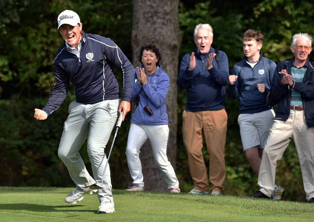 Irish Amateur Open champion Colm Campbell (Warrenpoint), pictured holing a putt in the final of the 2016 AIG Barton Shield, is in the GB&I Walker Cup squad. Picture by Pat Cashman