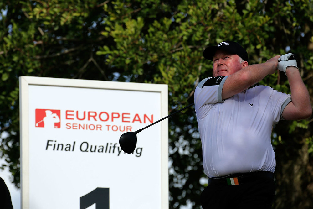 Brendan McGovern of Ireland drives from the 1st tee during the third round of the European Senior Tour Qualifying School Finals played at Vale da Pinta Pestana Golf & Resort on February 1, 2017 in Lagoa, Algarve, Portugal. Photo by Phil Inglis/Getty Images