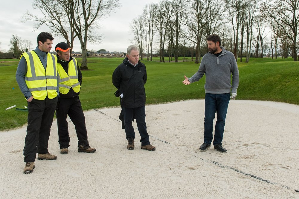 (Left to right) Gary Howie (Golf Professional), Alan MacDonnell (Golf Course Superintendent) and Colm Hannon (CEO) listen to Pádraig Harrington