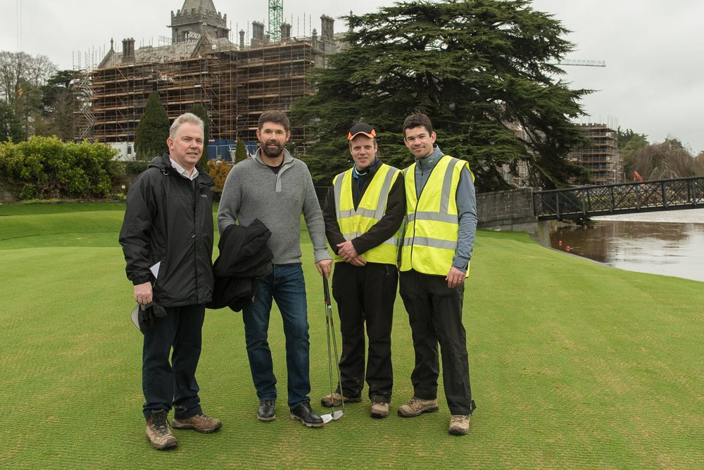 Padraig Harrington on a recent visit reviewing the progress to date on the golf course with (L-R) Colm Hannon (CEO), Alan MacDonnell (Golf Course Superintendent) and Gary Howie (Golf Professional)