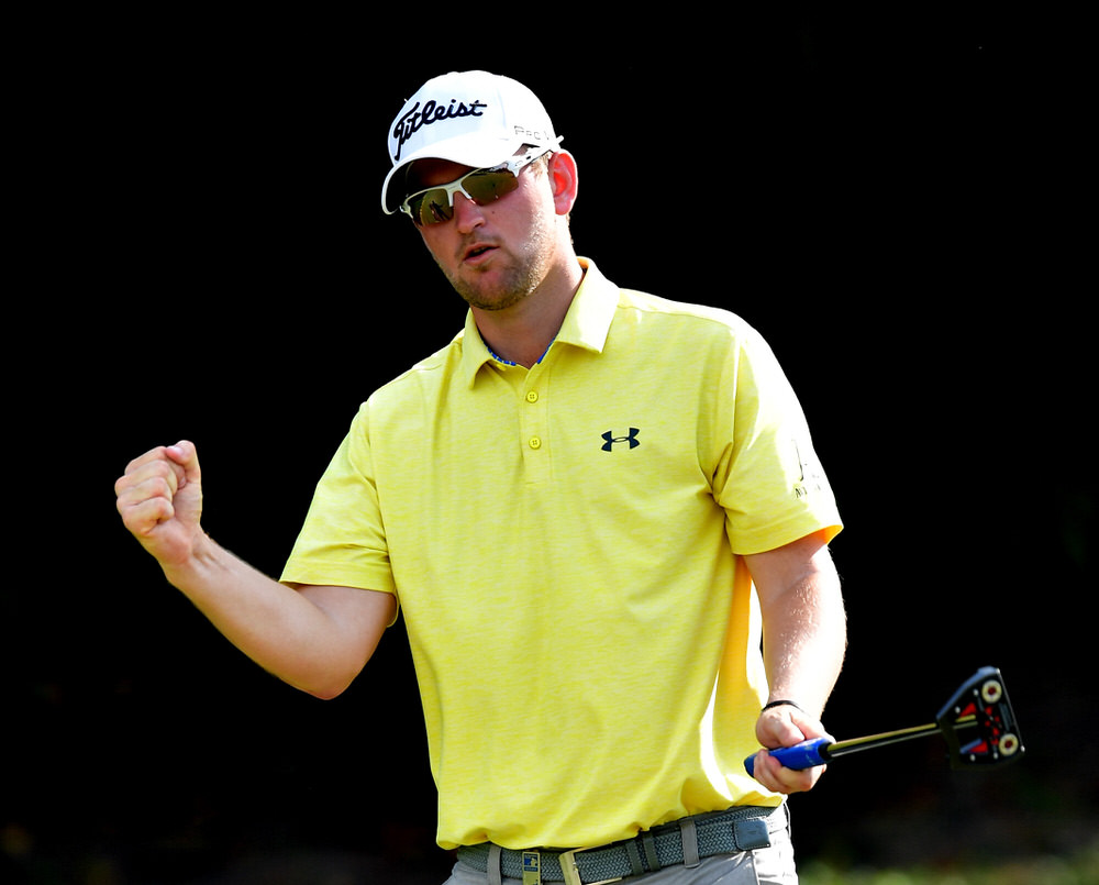 KUALA LUMPUR, MALAYSIA - FEBRUARY 10:  Bernd Wiesberger of  Austria celebrates his eighth consecutive birdie on the 15th hole during Day Two of the Maybank Championship Malaysia at Saujana Golf Club on February 10, 2017 in Kuala Lumpur, Malaysia. He would go on to make nine in a row. (Photo by Stuart Franklin/Getty Images)
