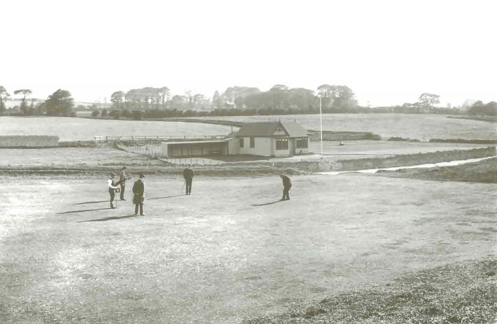 The 18th three and pavilion at the original Malahide in 1898