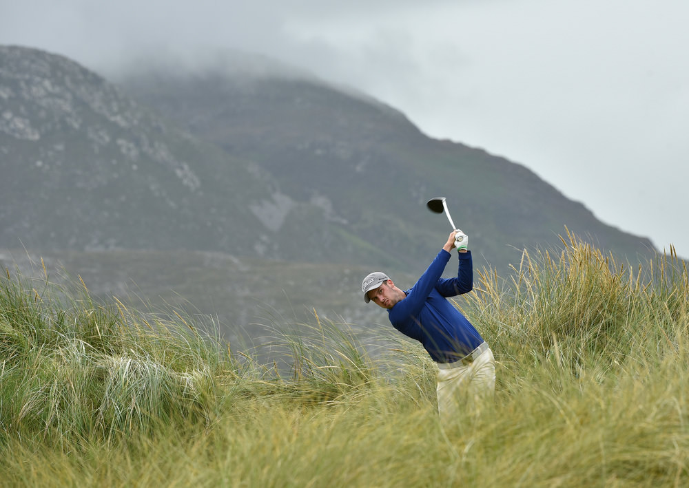Alex Gleeson plays from the rough during last year's AIG Irish Close at Ballyliffin. Picture: Pat Cashman