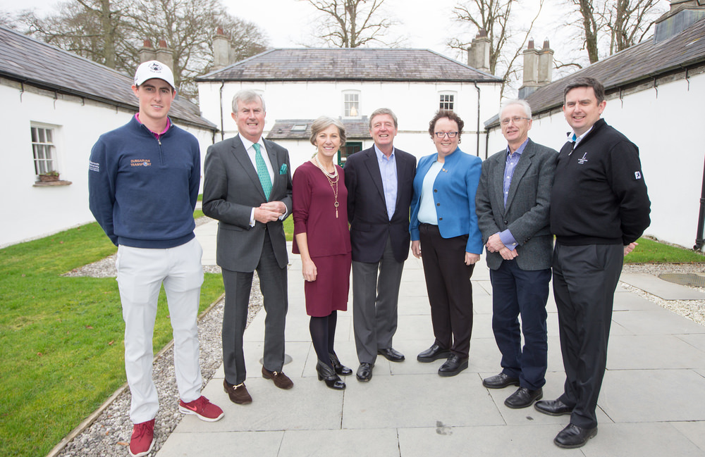 At the announcement of Des Smyth as leader of Team Ireland Golf,(L-R) Gary Hurley, Redmond O'Donoghue (Chairman CGI), Brege McCarrick (ILGU), Des Smyth, Sinead Heraty (CEO ILGU), John Treacy (CEO Sport Ireland) and Peter Lawrie (Director of Golf Luttrellstown Castle. Picture © Fran Caffrey/Golffile