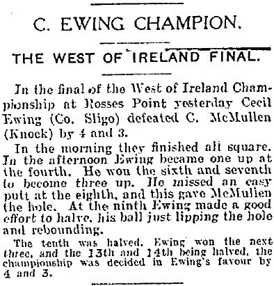 The Irish Independent report of 12 July 1930