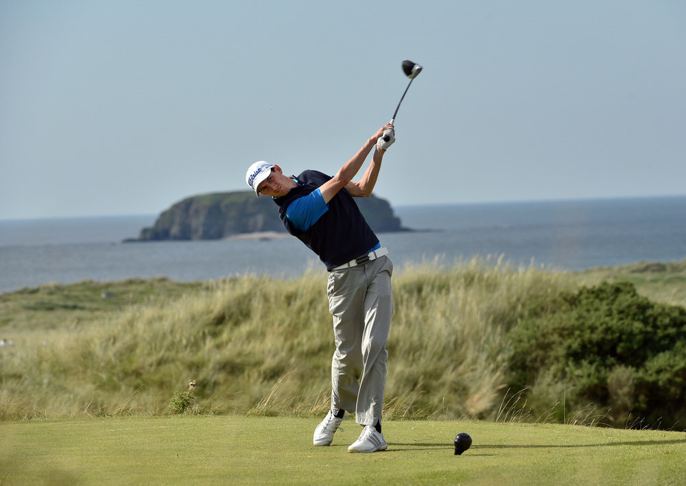 Tiarnan McLarnon drives during last year's AIG Irish Amateur Close at Ballyliffin. Picture:  Pat Cashman